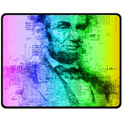 Abraham Lincoln Portrait Rainbow Colors Typography Fleece Blanket (medium)  by yoursparklingshop