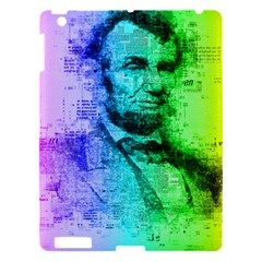 Abraham Lincoln Portrait Rainbow Colors Typography Apple Ipad 3/4 Hardshell Case by yoursparklingshop