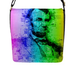Abraham Lincoln Portrait Rainbow Colors Typography Flap Messenger Bag (l)  by yoursparklingshop
