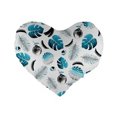 Tropical Pattern Standard 16  Premium Flano Heart Shape Cushions by Valentinaart
