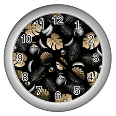 Tropical Pattern Wall Clocks (silver)  by Valentinaart