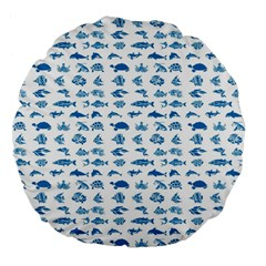 Fish Pattern Large 18  Premium Flano Round Cushions by ValentinaDesign