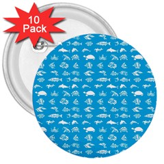 Fish Pattern 3  Buttons (10 Pack)  by ValentinaDesign