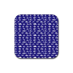 Fish Pattern Rubber Square Coaster (4 Pack)  by ValentinaDesign