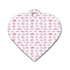 Fish Pattern Dog Tag Heart (two Sides) by ValentinaDesign