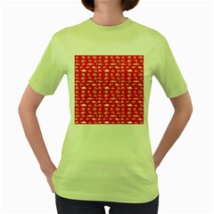 Fish Pattern Women s Green T Shirt by ValentinaDesign