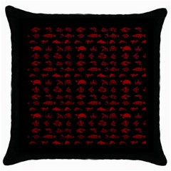 Fish Pattern Throw Pillow Case (black) by ValentinaDesign
