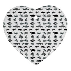 Fish Pattern Heart Ornament (two Sides) by ValentinaDesign