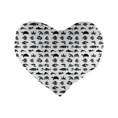 Fish Pattern Standard 16  Premium Flano Heart Shape Cushions by ValentinaDesign