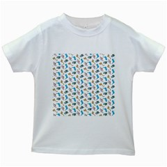 Dinosaurs Pattern Kids White T Shirts