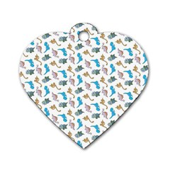 Dinosaurs Pattern Dog Tag Heart (two Sides) by ValentinaDesign