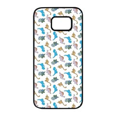 Dinosaurs Pattern Samsung Galaxy S7 Edge Black Seamless Case by ValentinaDesign