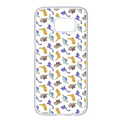 Dinosaurs Pattern Samsung Galaxy S7 Edge White Seamless Case
