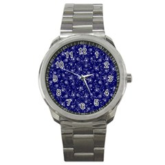 Floral Pattern Sport Metal Watch by ValentinaDesign