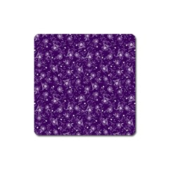 Floral Pattern Square Magnet by ValentinaDesign