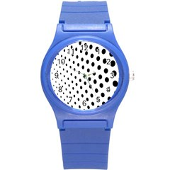 Polka Dot Black Circle Round Plastic Sport Watch (s) by Mariart