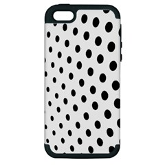 Polka Dot Black Circle Apple Iphone 5 Hardshell Case (pc+silicone) by Mariart