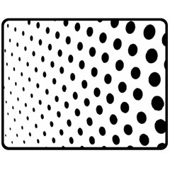 Polka Dot Black Circle Double Sided Fleece Blanket (medium)  by Mariart