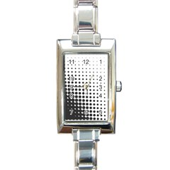 Comic Dots Polka Black White Rectangle Italian Charm Watch by Mariart
