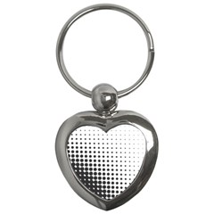 Comic Dots Polka Black White Key Chains (heart)  by Mariart