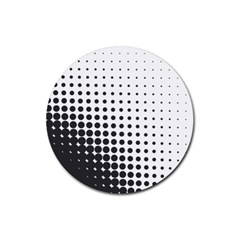 Comic Dots Polka Black White Rubber Round Coaster (4 Pack)  by Mariart
