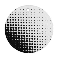 Comic Dots Polka Black White Round Ornament (two Sides) by Mariart