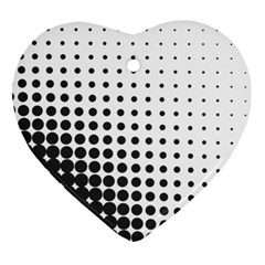 Comic Dots Polka Black White Heart Ornament (two Sides) by Mariart