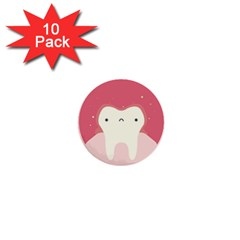 Sad Tooth Pink 1  Mini Buttons (10 Pack)  by Mariart