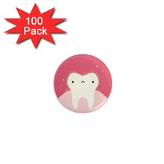 Sad Tooth Pink 1  Mini Magnets (100 Pack)  by Mariart