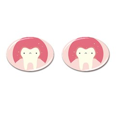 Sad Tooth Pink Cufflinks (oval) by Mariart