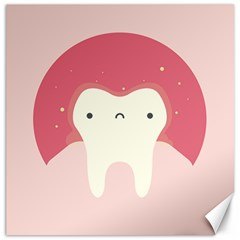 Sad Tooth Pink Canvas 12  X 12   by Mariart