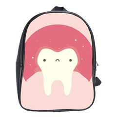 Sad Tooth Pink School Bags(large)  by Mariart