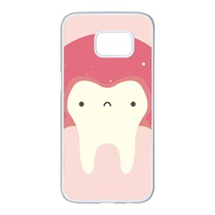 Sad Tooth Pink Samsung Galaxy S7 Edge White Seamless Case by Mariart