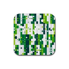 Generative Art Experiment Rectangular Circular Shapes Polka Green Vertical Rubber Coaster (square)  by Mariart