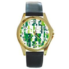 Generative Art Experiment Rectangular Circular Shapes Polka Green Vertical Round Gold Metal Watch by Mariart
