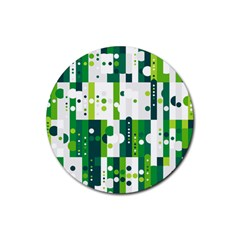 Generative Art Experiment Rectangular Circular Shapes Polka Green Vertical Rubber Coaster (round)  by Mariart