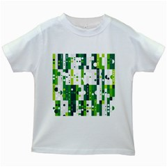 Generative Art Experiment Rectangular Circular Shapes Polka Green Vertical Kids White T Shirts