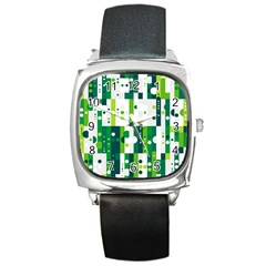 Generative Art Experiment Rectangular Circular Shapes Polka Green Vertical Square Metal Watch by Mariart