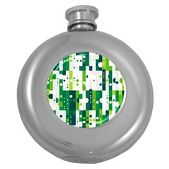 Generative Art Experiment Rectangular Circular Shapes Polka Green Vertical Round Hip Flask (5 Oz) by Mariart