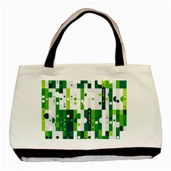 Generative Art Experiment Rectangular Circular Shapes Polka Green Vertical Basic Tote Bag (two Sides) by Mariart