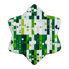 Generative Art Experiment Rectangular Circular Shapes Polka Green Vertical Snowflake Ornament (two Sides) by Mariart