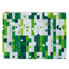 Generative Art Experiment Rectangular Circular Shapes Polka Green Vertical Cosmetic Bag (xxl)  by Mariart