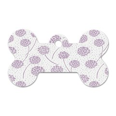 Purple Tulip Flower Floral Polkadot Polka Spot Dog Tag Bone (one Side) by Mariart