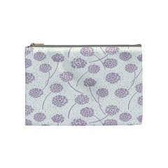 Purple Tulip Flower Floral Polkadot Polka Spot Cosmetic Bag (medium)  by Mariart