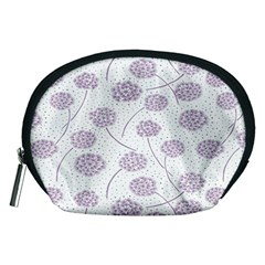 Purple Tulip Flower Floral Polkadot Polka Spot Accessory Pouches (medium)  by Mariart