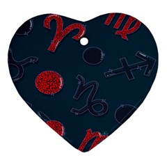 Zodiac Signs Planets Blue Red Space Ornament (heart) by Mariart