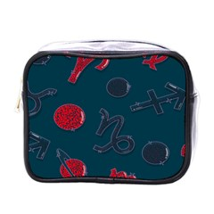 Zodiac Signs Planets Blue Red Space Mini Toiletries Bags by Mariart