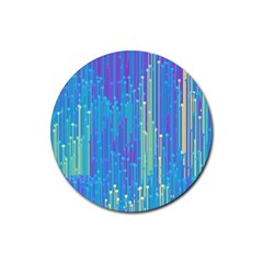 Vertical Behance Line Polka Dot Blue Green Purple Rubber Round Coaster (4 Pack)  by Mariart