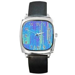 Vertical Behance Line Polka Dot Blue Green Purple Square Metal Watch by Mariart