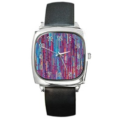 Vertical Behance Line Polka Dot Blue Green Purple Red Blue Black Square Metal Watch by Mariart